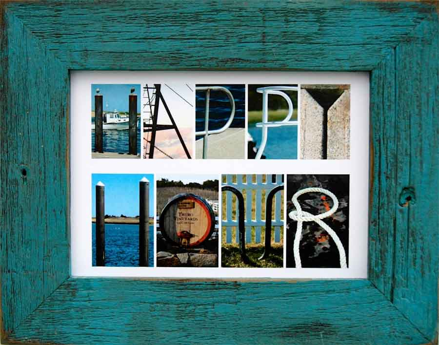 A greeting card that says HAPPY HOUR spelled out in nautical photos and framed in a rustic turquoise frame