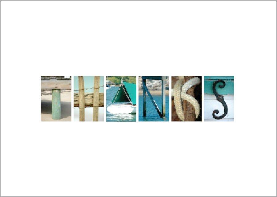 THANKS written in nautical photos on a plain greeting card